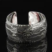 Серебряный кубачинский браслет с гравировкой арт.7677