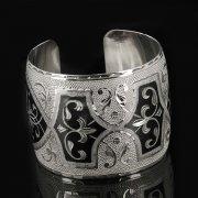 Серебряный кубачинский браслет с чернением арт.7681