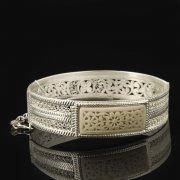 Кубачинский серебряный браслет с филигранью (вставка из слоновой кости) арт.8098