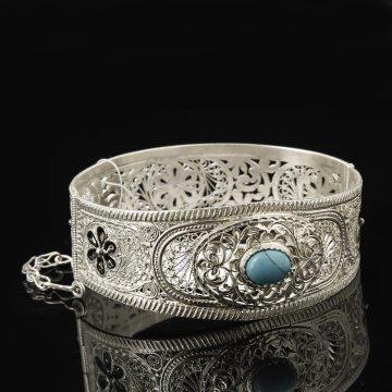 Серебряный браслет с филигранью ( бирюза)