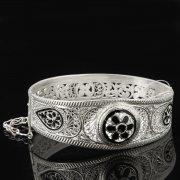 Кубачинский серебряный браслет с филигранью арт.8127