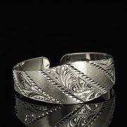 Серебряный кубачинский браслет белый арт.9289