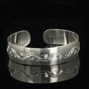 Серебряный кубачинский браслет белый арт.9290