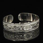 Серебряный кубачинский браслет белый арт.9297