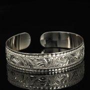Серебряный кубачинский браслет белый арт.9308