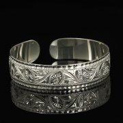 Серебряный кубачинский браслет белый арт.9314