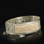 Кубачинский серебряный браслет с филигранью (слоновая кость) арт.9490