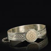 Кубачинский серебряный браслет с филигранью (слоновая кость) арт.9497