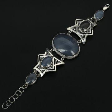 Серебряный браслет с филигранью (агат)