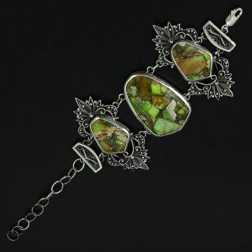 Серебряный браслет с филигранью (бирюза)