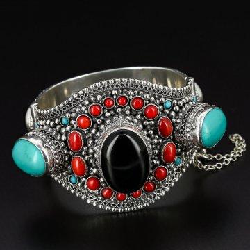 Серебряный браслет Этно (чёрный агат, бирюза, коралл)