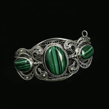 Эксклюзивный серебряный браслет (малахит)