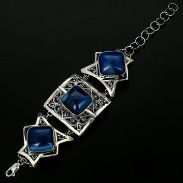 Эксклюзивный серебряный браслет (агат)