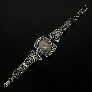 Серебряный браслет Нежность (розовый кварц)