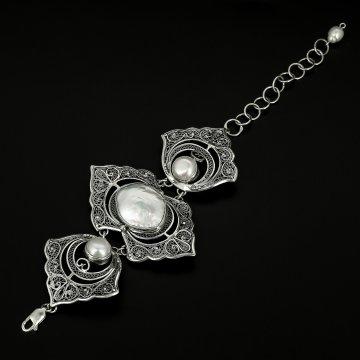 Эксклюзивный серебряный браслет (барочный жемчуг)