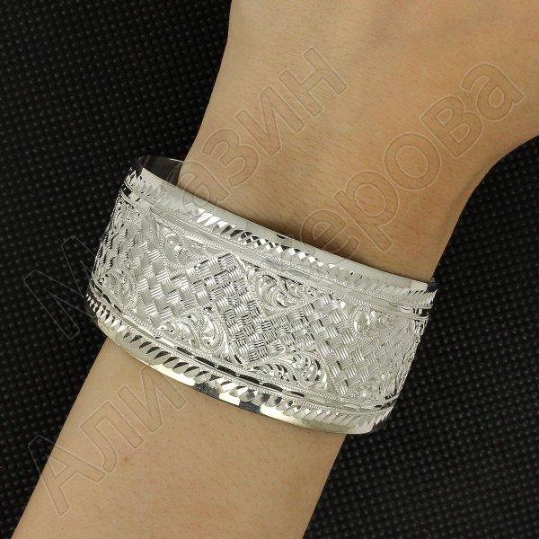 Серебряный кубачинский браслет с гравировкой