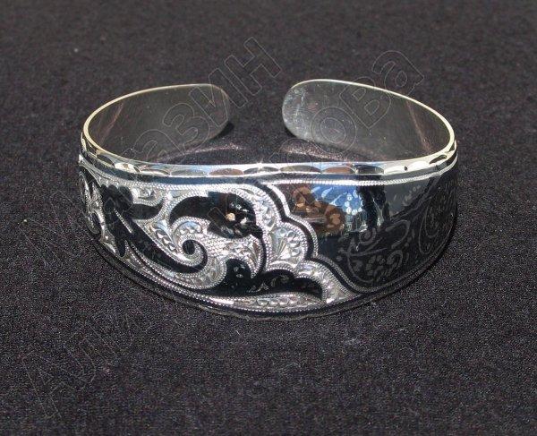 Серебряный кубачинский браслет с чернением