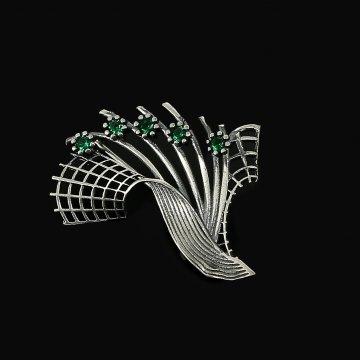 Серебряная брошь Букет (фианит зелёный)