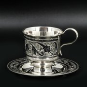 Серебряная чашка с блюдцем Кубачи ручной работы арт.8657