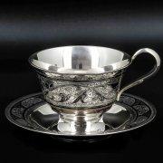 Серебряная чашка с блюдцем Кубачи ручной работы арт.8682