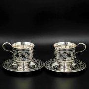 Серебряная чашка с блюдцем Кубачи ручной работы (2 персоны)