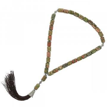 Четки Яшма унакит ручная работа (натуральный камень, 33 бусины)