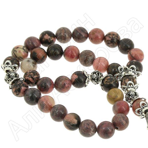 Четки Родонит ручная работа (натуральный камень, 33 бусины)
