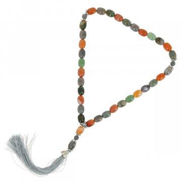 Четки Индийская яшма, Сердолик ручная работа (натуральный камень, 33 бусины)