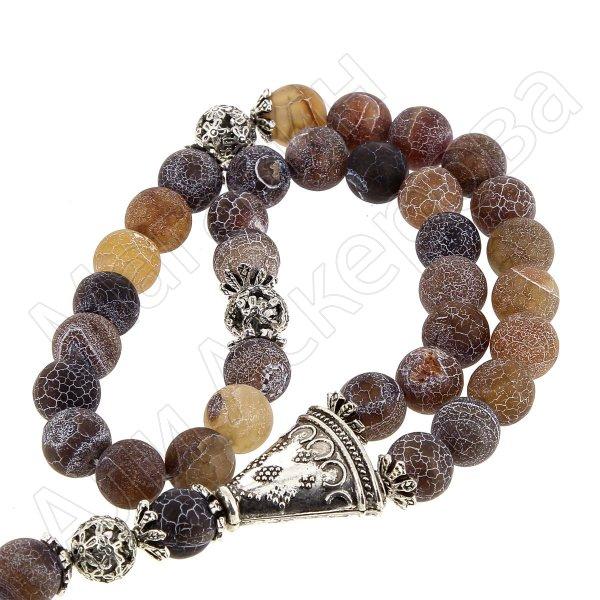 Четки Африканский агат ручная работа (натуральный камень, 33 бусины)