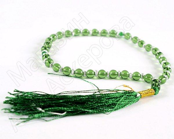 """Четки классические """"Арабские"""" зеленые 33 бусины стекло-кварц"""