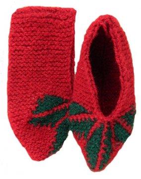 Джурабки-тапочки шерстяные красные