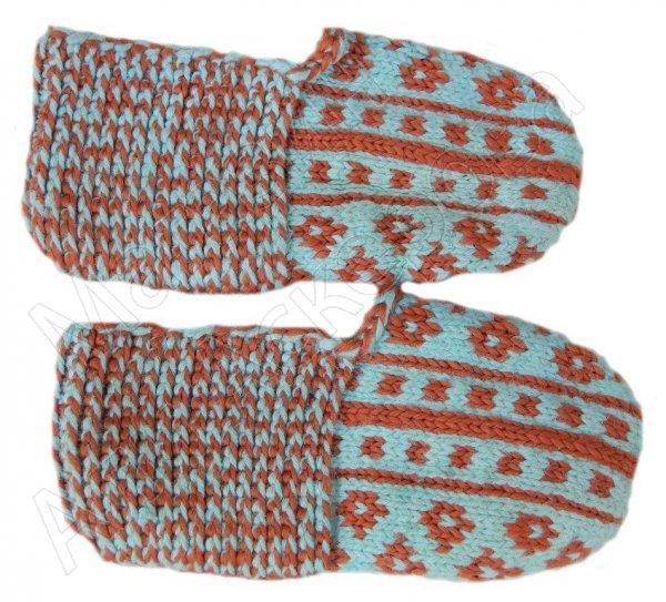 Джурабки-тапочки голубые с кумыкским орнаментом