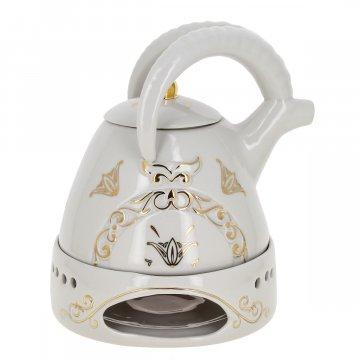 """Фарфоровый чайник на подставке """"Тур"""" ручной работы"""