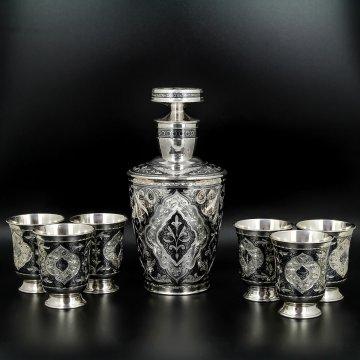 Серебряный графин со стаканами Кубачи ручной работы (6 персон)
