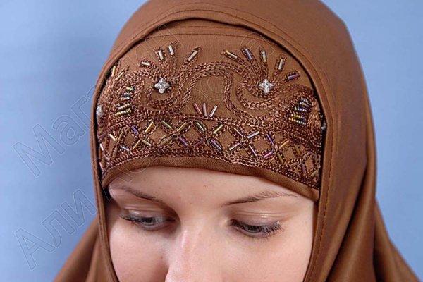 """Мусульманский хиджаб-двойка """"Насиба"""" с вышивкой"""