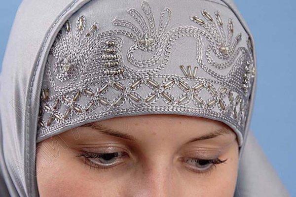 """Мусульманский хиджаб-двойка """"Дамини"""" с вышивкой"""