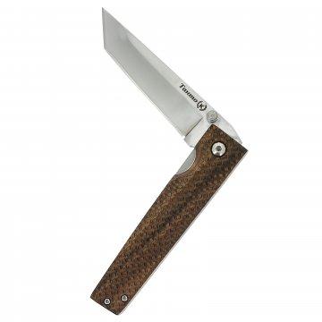 Складной нож Танто (сталь Х50CrMoV15, рукоять орех с клипсой)