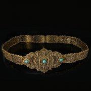 Кавказский свадебный пояс ручной работы мастера Чермена Ахмедова (филигрань) арт.8925