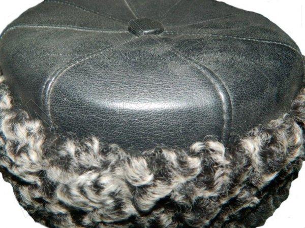 Мужская каракулевая шапка с кожаным верхом ручной работы (сорт - чистопородная гривка)