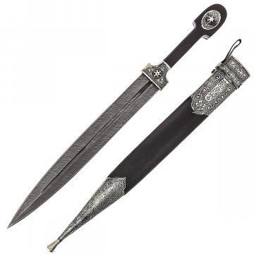 Кавказский кинжал с цельной рукоятью Рагдан (дамасская сталь)