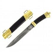 Нож пластунский дамасская сталь (латунь, в наборе - подвес и чехол)