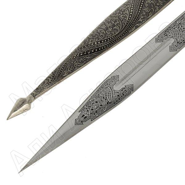 Кавказский кинжал Змейка (ножны мельхиор)