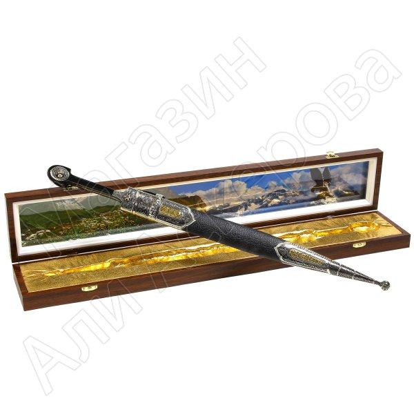 Кавказский кинжал с цельной рукоятью (сталь - Х12МФ кованая, родовое клеймо, рукоять - дерево)