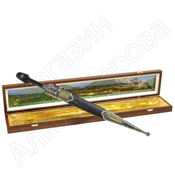 Кавказский кинжал с цельной рукоятью (сталь - 65Х13, рукоять - дерево)