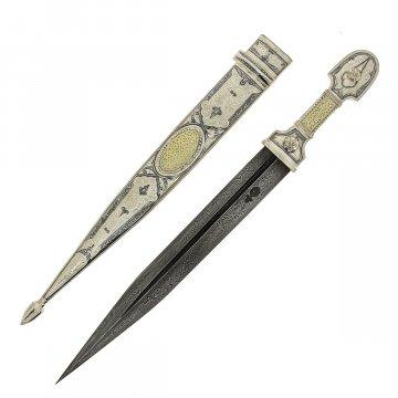 Кубачинский серебряный кинжал в футляре (слоновая кость, дамасская сталь, родовое клеймо)