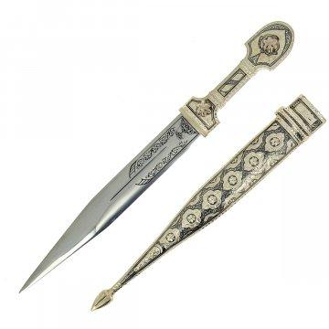 Кубачинский серебряный кинжал (сталь - 65Х13, родовое клеймо)