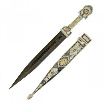 Кубачинский серебряный кинжал (слоновая кость, дамасская сталь, родовое клеймо)