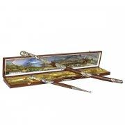 Кубачинский подарочный набор в футляре (шашка и кинжал с позолоченными вставками) арт.6166