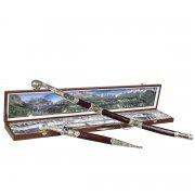 Кубачинский подарочный набор в футляре (шашка и кинжал с позолоченными вставками) арт.6167