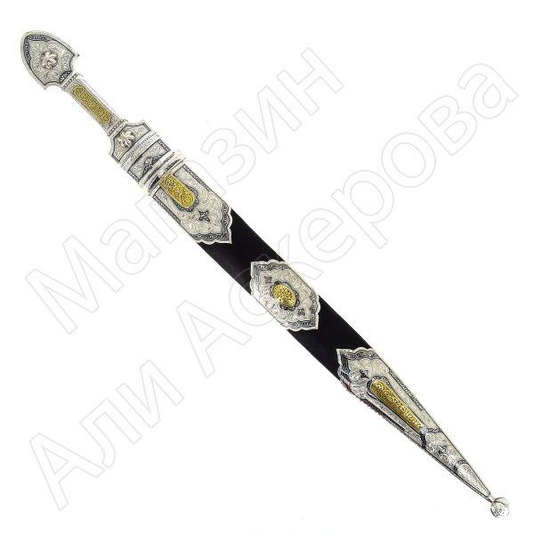 Кубачинский подарочный набор №23: серебряный кинжал в футляре